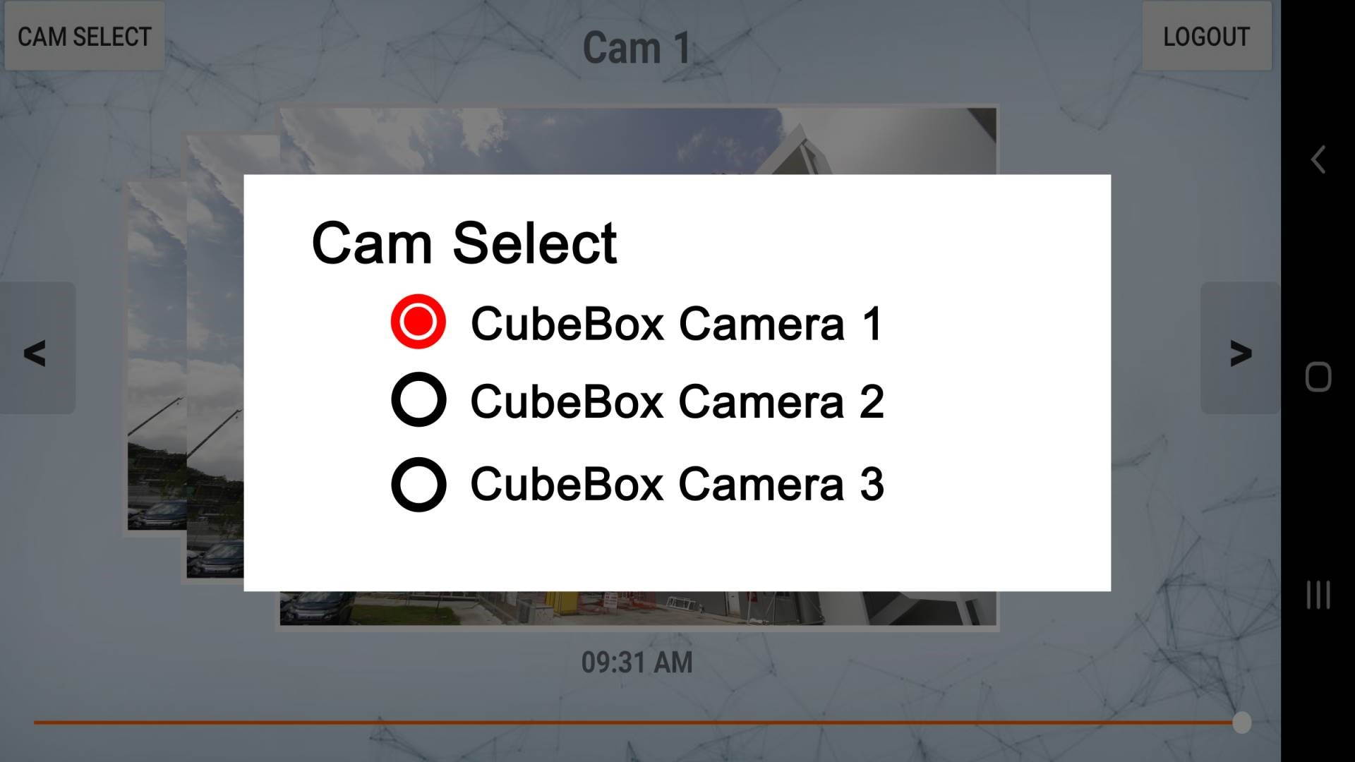 CubeBox Timelapse Mobile Cam Select